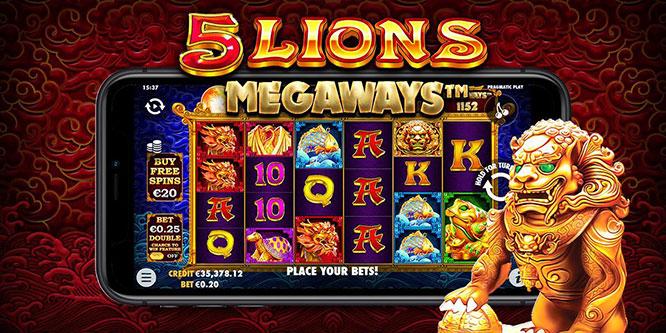 Si torna in Cina con 5 Lions Megaways la nuova slot machine Pragmatic Play